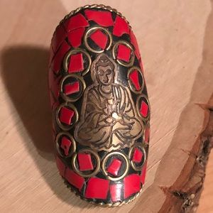 Jewelry - Vintage Coral Buddha Ring